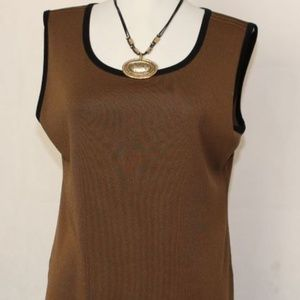 Exclusively Misook M Brown Contrast Trim Tank E127